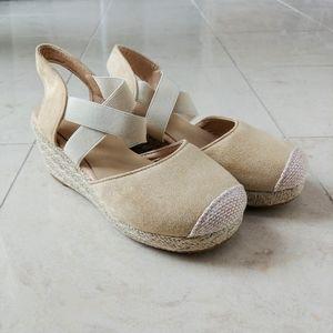 Shoes - Tan Wedge Closed Toe Espadrilles Elastic Band